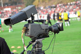 TV Camera on the football (soccer) mach — Stock Photo