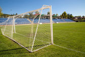 Net soccer goal football green grass — Foto de Stock