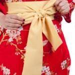 Yellow ribbon on Japanese traditional clothes of Kimono, Yukata — Stock Photo #43505391
