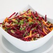Salad of fresh beets and carrots in white plate — Stock Photo #43505725