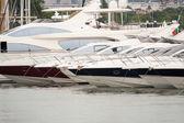 пришвартованные яхты стоят на якоре — Стоковое фото