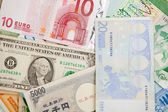 Different banknotes, money background — Stock Photo