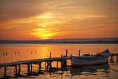 Old boat in sunset on Varna Lake — Stock Photo