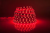 Red glowing LED garland, strip — Stock Photo