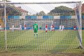 Football net during a football mach  — Stock Photo