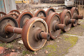 Old rusty wheels of train — Stock Photo