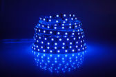 Blue glowing LED garland, strip — Stock Photo