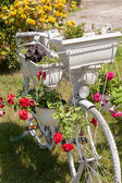 Old bicycle with potted flowers — Stock Photo