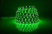 Green glowing LED garland, strip  — 图库照片