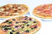 Three different kind of pizzas — Stock Photo