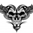 Skull and wings — Stock Vector
