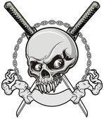 Skull with samurai — Stock Vector
