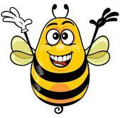 Cartoon yellow bee — Stock Vector
