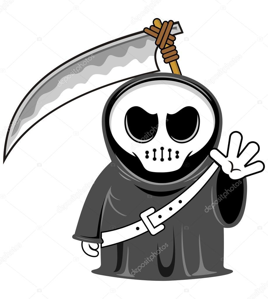 矢量卡通搞笑死神的镰刀