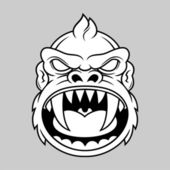 Furious monkey head — Stock Vector
