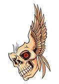 Skull and wing — Stock Vector