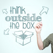 "Man writing ""think outside the box"" — Stock Photo"