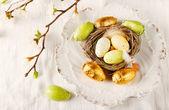 Easter eggs on white plate — Stock Photo