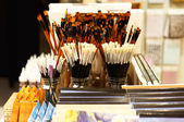 Painting brushes in Art Shop — Stock Photo