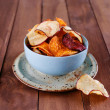 Healthy vegetable chips in a blue cup closeup — Stock Photo #44302527
