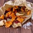Healthy vegetable chips on paper with sea salt — Stock Photo #44302565
