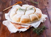 Freshly baked Australian damper loaf on wooden background — Stock Photo