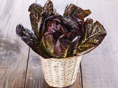 Red cos lettuce on wooden background — Stock Photo