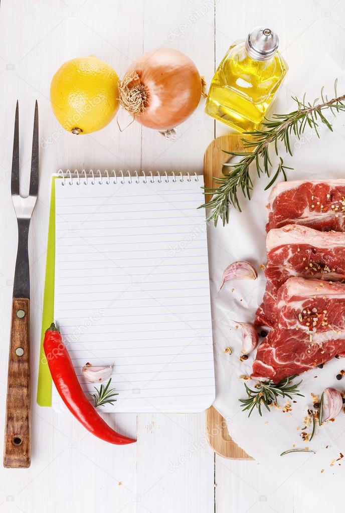 Concetto di cucina libro di ricette e ingredienti per for Cucina per cucinare