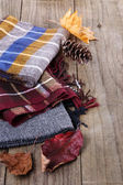 Autumn (fall) still life with scarves — Stock Photo