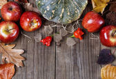 Autumn (fall) still life with pumpkin, apples and leaves — Stock Photo
