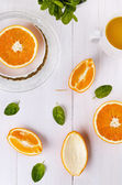 Top view of oranges over white wooden background  — Stock Photo