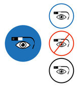 Google glass icon set blue red circle — Stock Vector