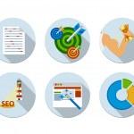 Flat design vector illustration six icons set of SEO — Stock Vector