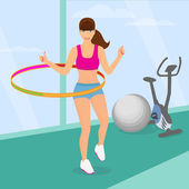 Beautiful woman exercising with hula hoop in the gym — Vettoriale Stock