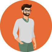 Hipster guy, close-up vector illustration — Stock Vector