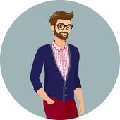 流行に敏感な男、クローズ アップ ベクトル イラスト — ストックベクタ
