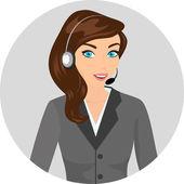 Female call centre operator - isolated — Stockvector