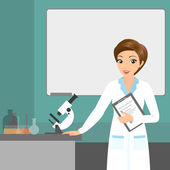 Affable chemist woman in the laboratory — Stock Vector