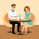 Young man and woman using a tablets pc in the restaurant. — Stock Vector