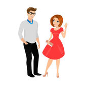 Young man and woman isolated — Stock Vector
