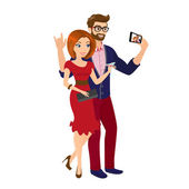 Cheery handsome man and woman in red dress are taking a snapshot of themselves — Stock Vector