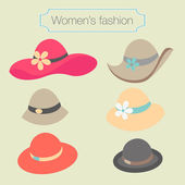 Women's fashion collection of hats — Stock Vector