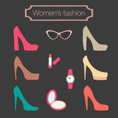 Women's fashion collection of high-heeled shoes — Stock Vector
