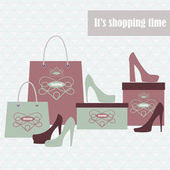 Shopping bags and fashion shoes — Stock Vector