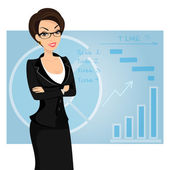 Business woman is wearing black suit on blue background — Stock Vector