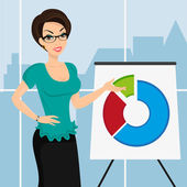 Business woman is representing a round diagram in the office — Stock Vector