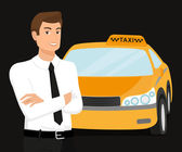 Taxi driver and yellow car behind him — Stock Vector