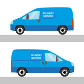 Blue delivery van isolated view from two sides — Stock Vector