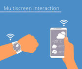 Multiscreen interaction. Synchronization of smart wristwatch and smartphone — Stock Vector