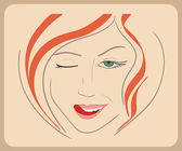 Handdrawn woman face winks with red hair and green eyes. close-up illustration - paths outlined — Stock Vector